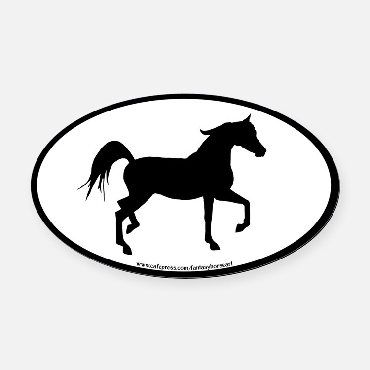 Arabian Horse Oval (blk border) Oval Car Magnet