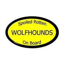 Spoiled Wolfhounds On Board Oval Car Magnet
