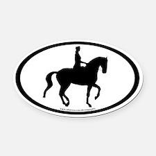 Piaffe Dressage Horse & Rider Oval Car Magnet