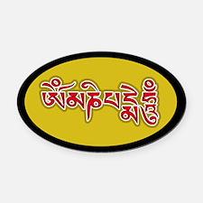 Red Om Mani Padme Hum Oval Car Magnet