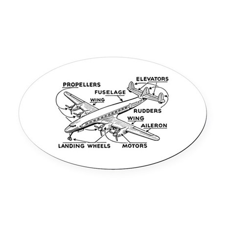 Aeroplane Diagram Oval Car Magnet By Admin Cp3055755