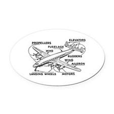 Aeroplane Diagram Oval Car Magnet