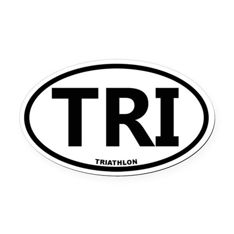 Triathlon Oval Car Magnet