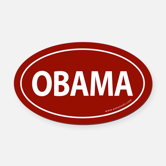 Barack Obama Auto Oval Car Magnet -Red