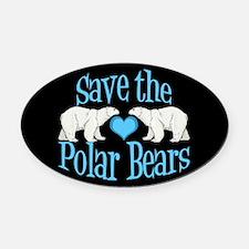 Save the Polar Bears Oval Car Magnet
