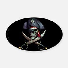 pirate skull -blackOval Car Magnet