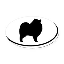 Keeshond Silhouette Oval Car Magnet