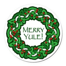 Celtic Yule Wreath Round Car Magnet