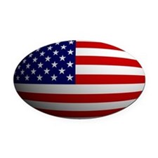 USA flag rounded Oval Car Magnet