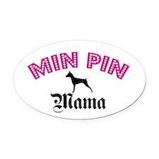 Min Pin Mama Oval Car Magnet