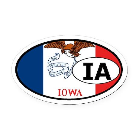 Iowa State Flag Oval Car Magnet