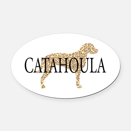 Catahoula Leopard Dogs Oval Car Magnet