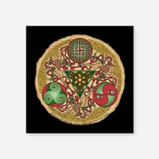 "Celtic Reindeer Shield Square Sticker 3"" x 3"""