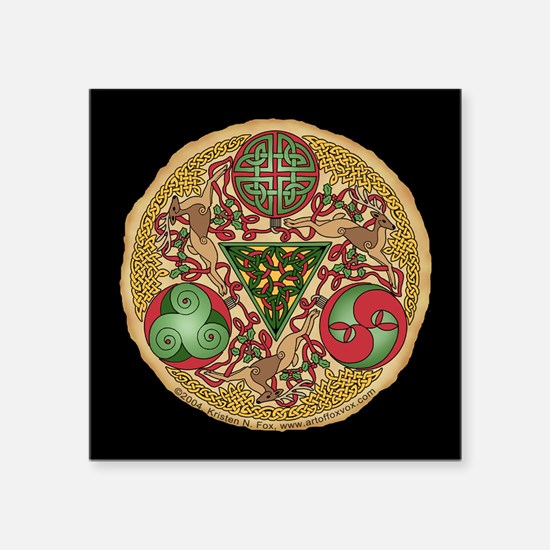 "Celtic Reindeer Shield Square Sticker 3"" x 3"""