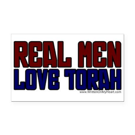 """Real Men Love Torah"" Rectangle Car Magnet"