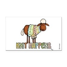 knit happens Rectangle Car Magnet