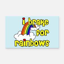 I Brake For Rainbows Rectangle Car Magnet
