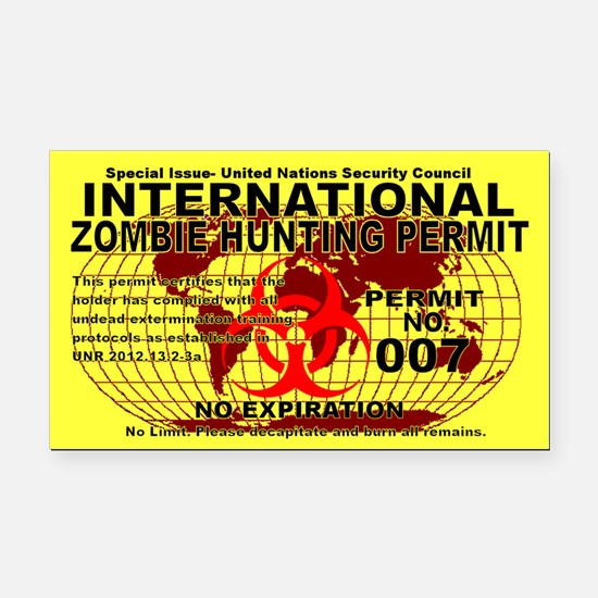 International Zombie Hunting Permit Rectangle Car