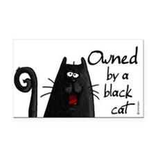 owned by a black cat Rectangle Car Magnet