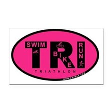 Thiathlon Swim Bike Run Rectangle Car Magnet