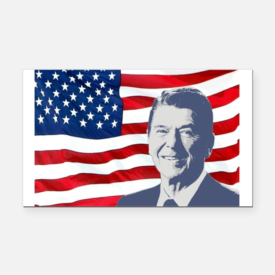 Reagan and Flag Rectangle Car Magnet