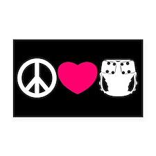 Peace, Love, Cloth Rectangle Car Magnet