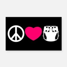Peace, Love, Cloth Rectangle Car Magnet