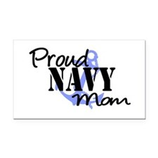 Proud Navy Mom Blue Anchor Rectangle Car Magnet