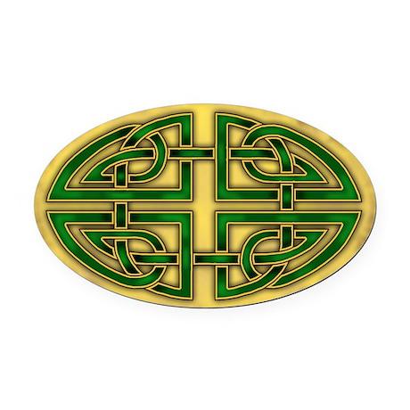 Celtic Green Knotwork Oval Car Magnet