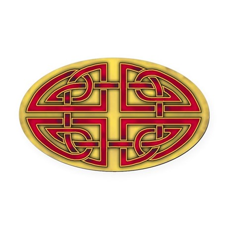 Celtic Red Knotwork Oval Car Magnet