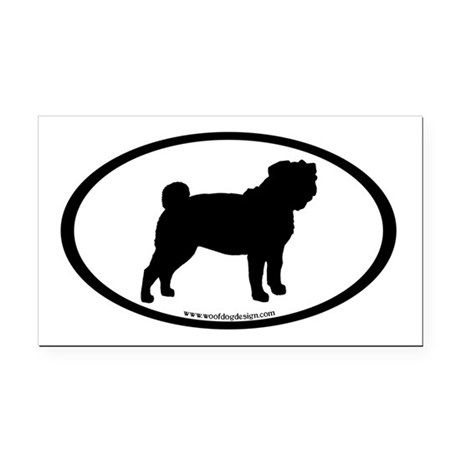Pug Oval Rectangle Car Magnet