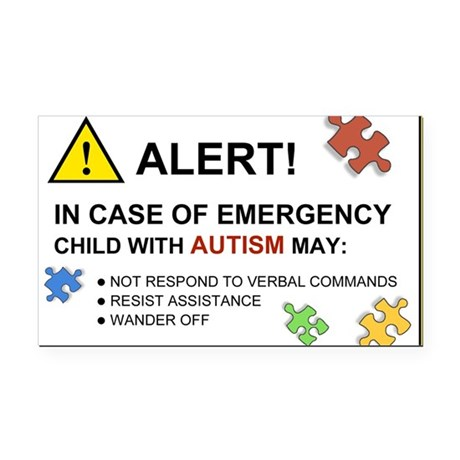 Autism Emergency Warning Rectangle Car Magnet for