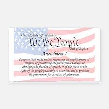 Amendment I and Flag Rectangle Car Magnet