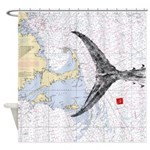 Mass bay and islands with tuna tail Shower Curtain