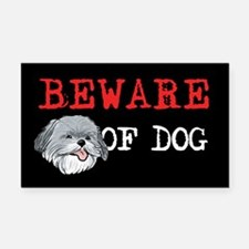 Shih Tzu Beware of Dog Rectangle Car Magnet