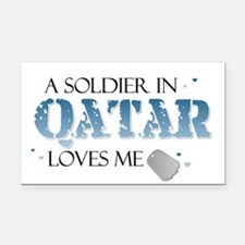 A Soldier in Qatar Loves me Rectangle Car Magnet