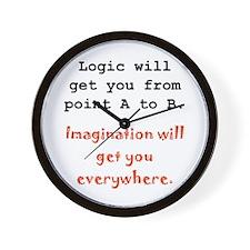 Imagination Everywhere Black.png Wall Clock