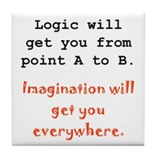 Imagination Everywhere Black.png Tile Coaster