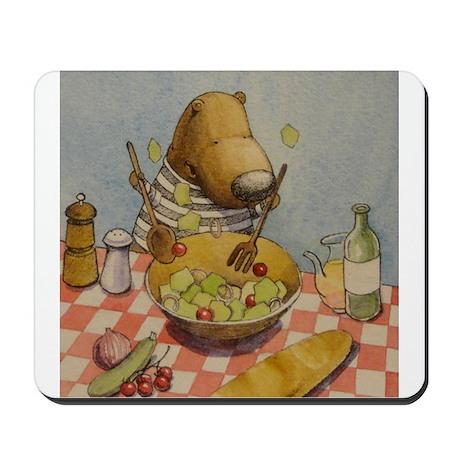 Bear tossing Salad Mousepad