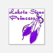 "Purple Lakota Sioux Princes Square Sticker 3"" x 3"""
