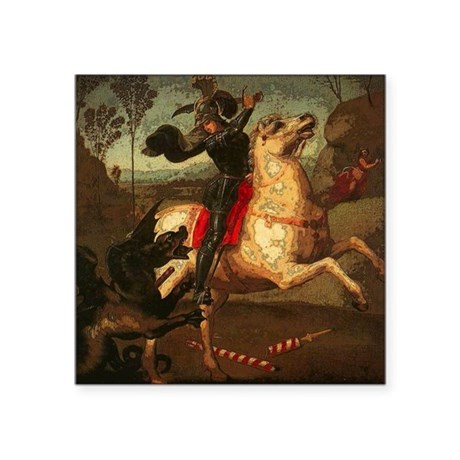 "St. George Fighting Dragon Square Sticker 3"" x 3"""