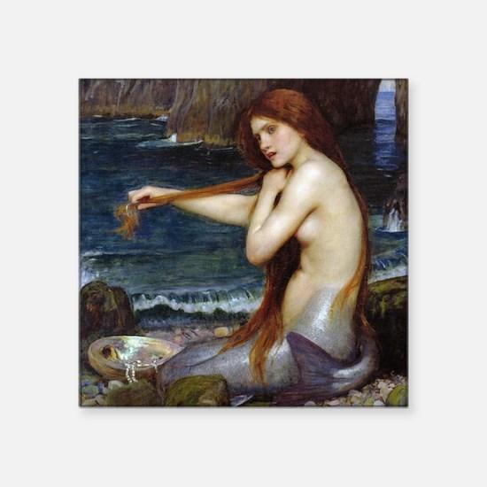"""John William Waterhouse Mermaid Square Sticker 3"""""""