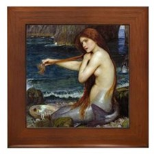 John William Waterhouse Mermaid Framed Tile