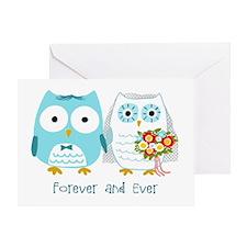 Owls Wedding (Blank Inside) Greeting Card