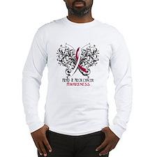 Butterfly Head Neck Cancer Long Sleeve T-Shirt