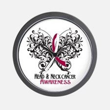 Butterfly Head Neck Cancer Wall Clock