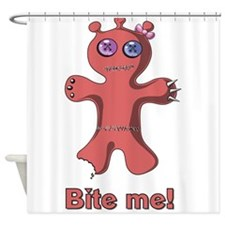 Ugly Mutt Cookie says Bite Me Red Shower Curtain
