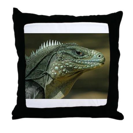 Big Green Lizard Throw Pillow