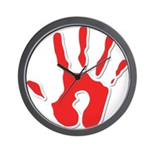 Hand Print Red Large Wall Clock