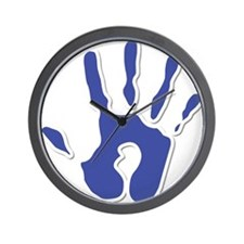 Hand Print Blue Large Wall Clock